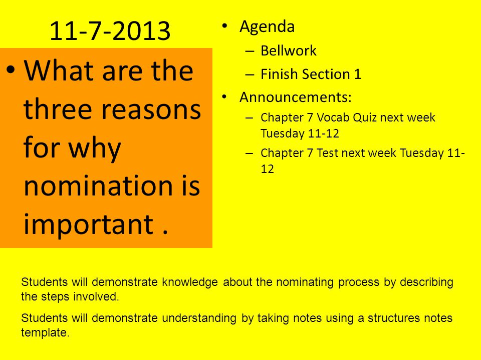 What are the three reasons for why nomination is important .