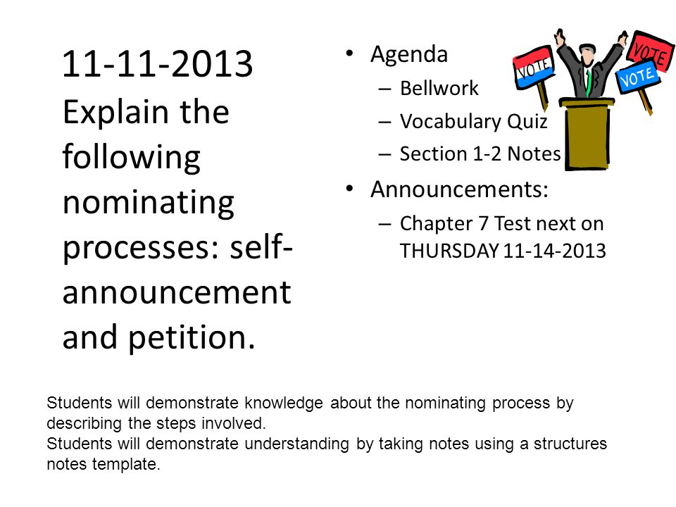 11-11-2013 Agenda. Bellwork. Vocabulary Quiz. Section 1-2 Notes. Announcements: Chapter 7 Test next on THURSDAY 11-14-2013.