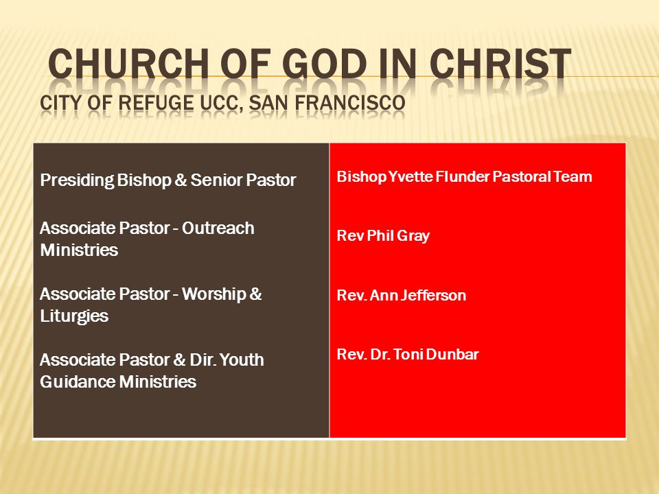 Church of God in Christ City of Refuge UCC, San Francisco