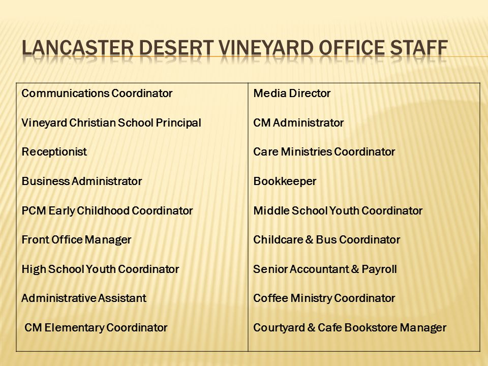 Lancaster Desert Vineyard Office Staff