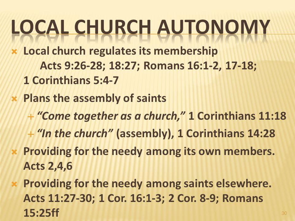 Spring 2012 Gospel Meeting 5/2/2012 pm. Local Church Autonomy.