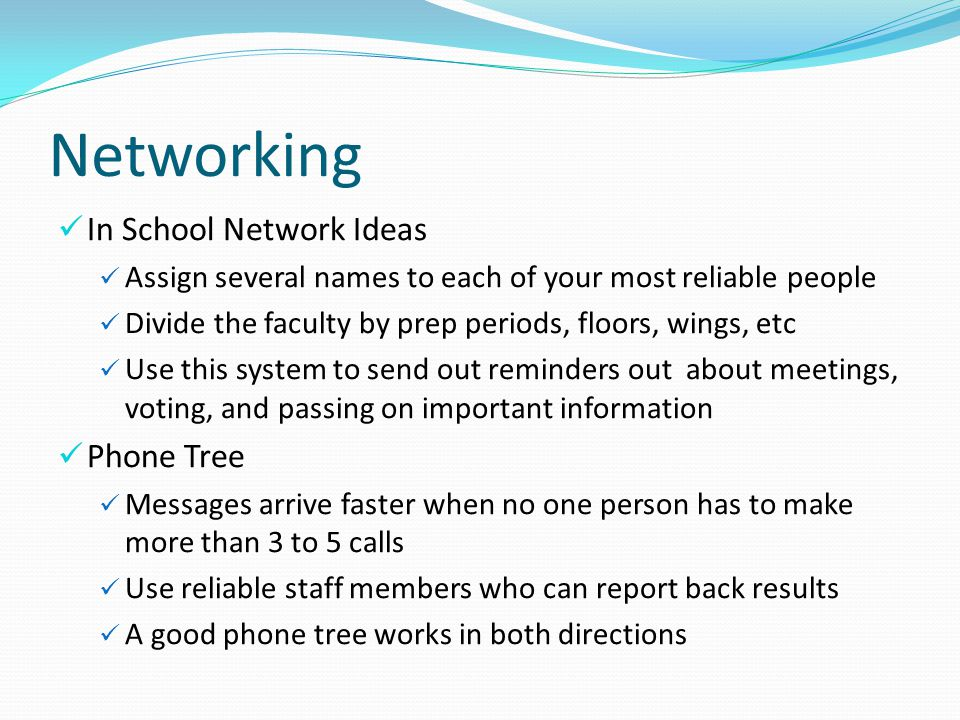 Networking In School Network Ideas Phone Tree