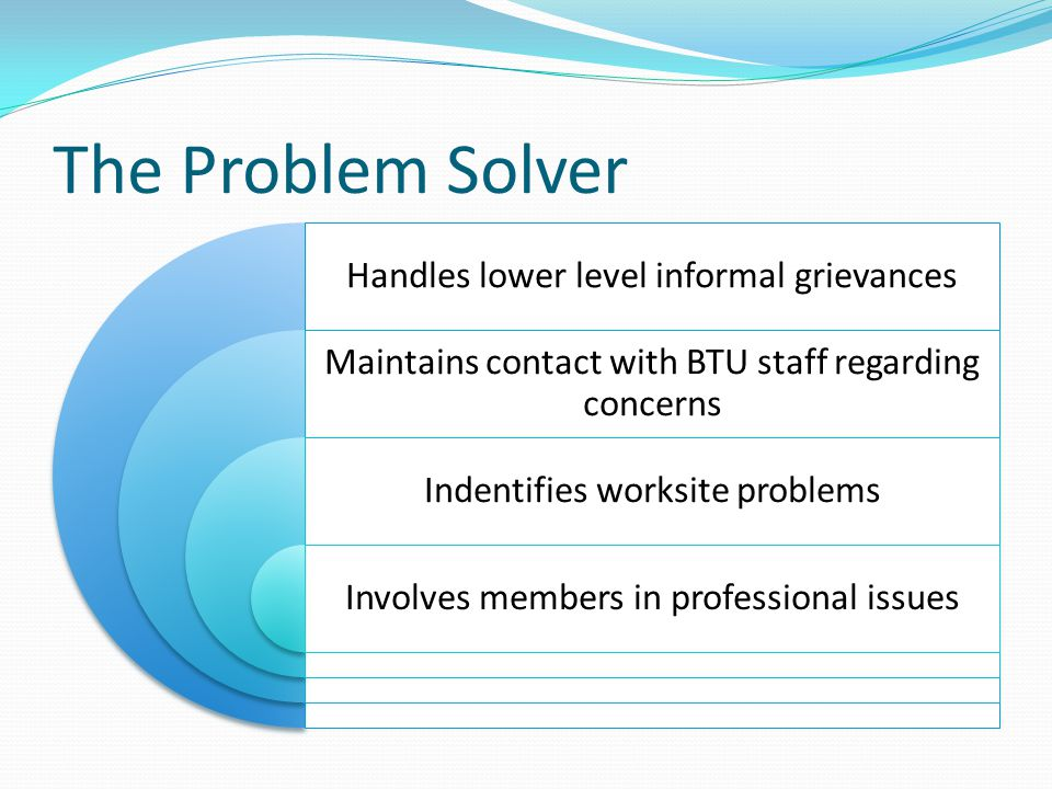 The Problem Solver Handles lower level informal grievances