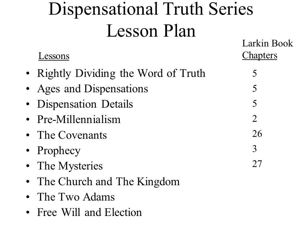 Dispensational Truth Series Lesson Plan
