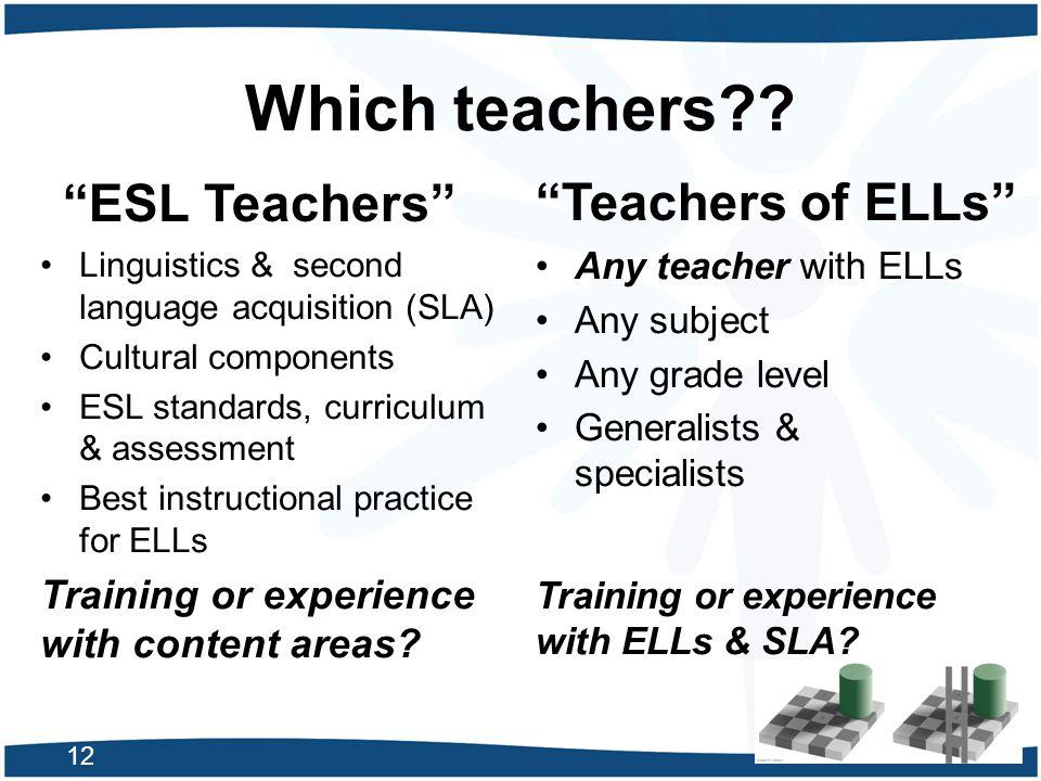 Which teachers ESL Teachers Teachers of ELLs