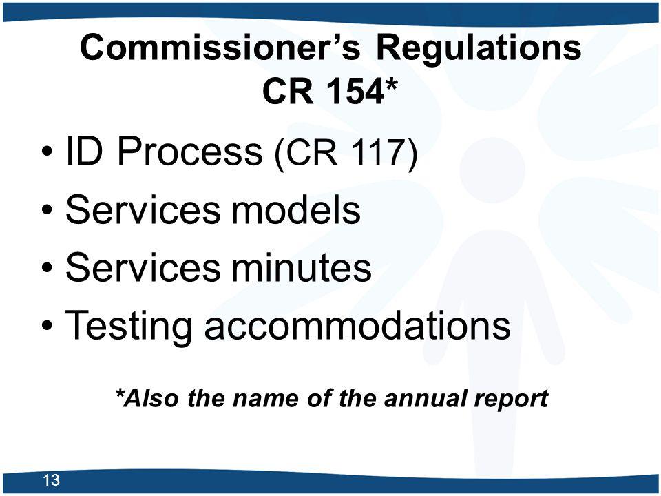 Commissioner's Regulations CR 154*