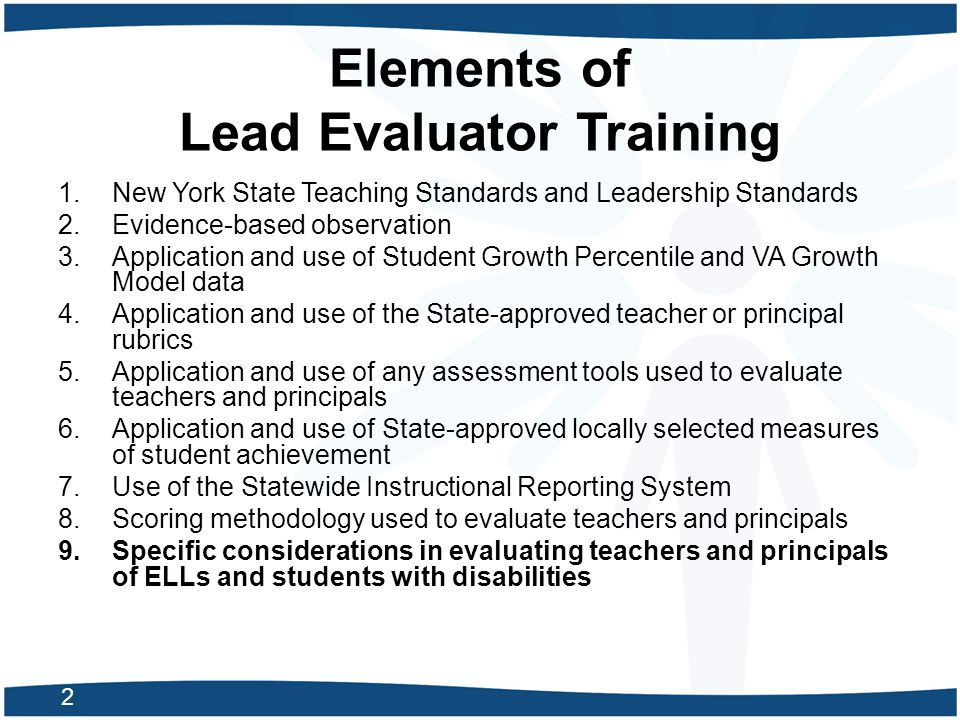 Elements of Lead Evaluator Training