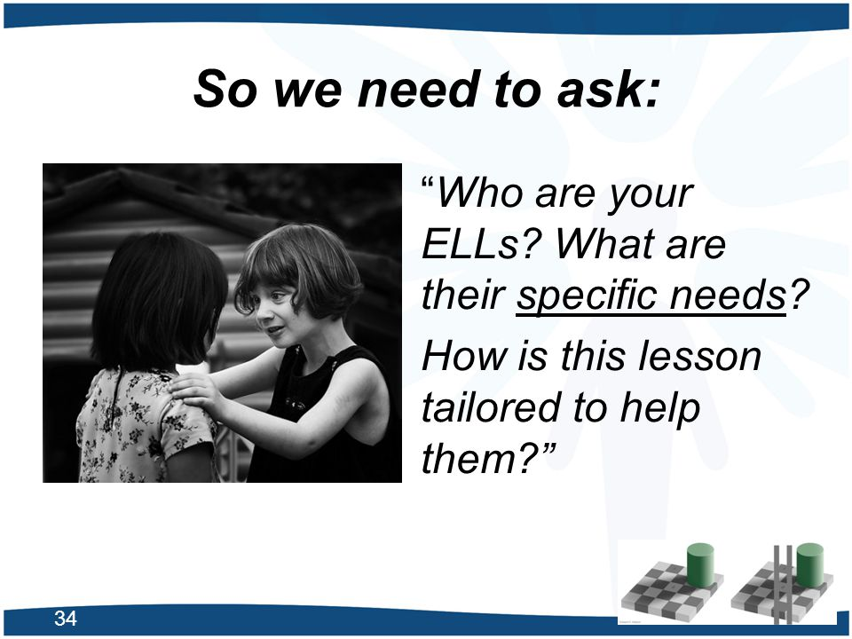 So we need to ask: Who are your ELLs What are their specific needs
