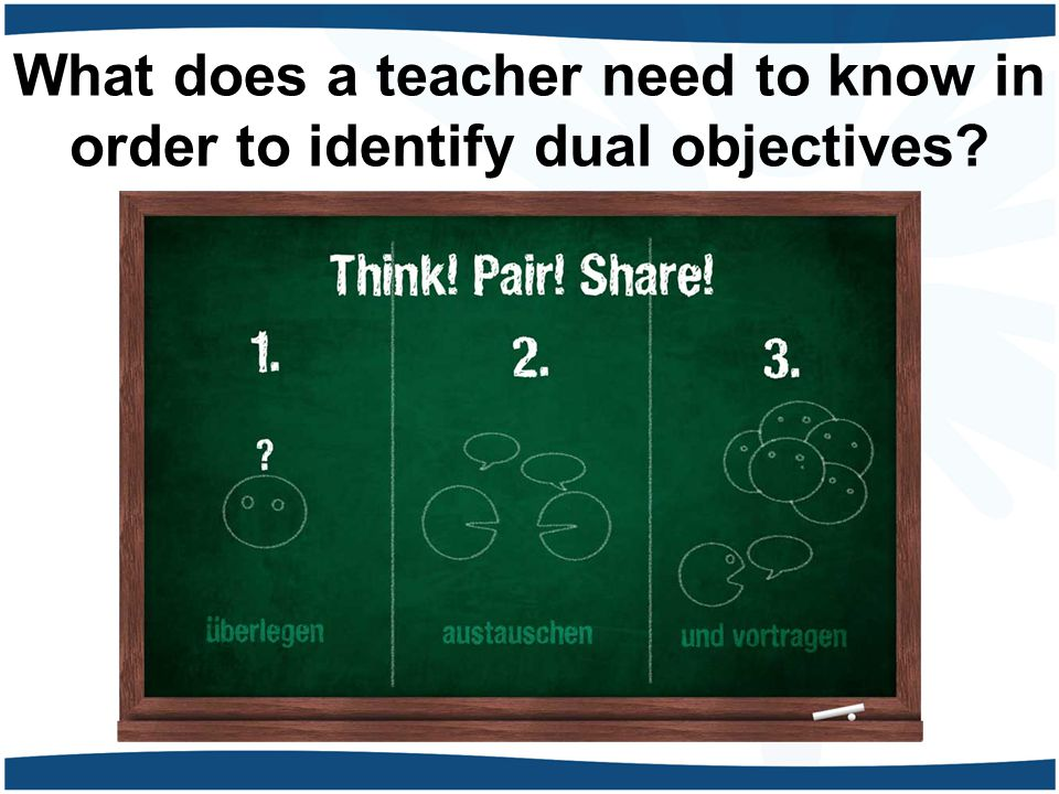What does a teacher need to know in order to identify dual objectives