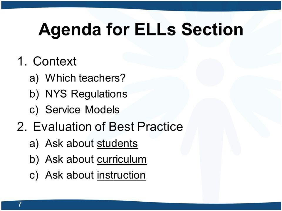 Agenda for ELLs Section