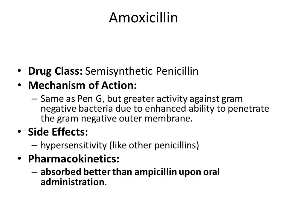 Amoxicillin Drug Class: Semisynthetic Penicillin Mechanism of Action: