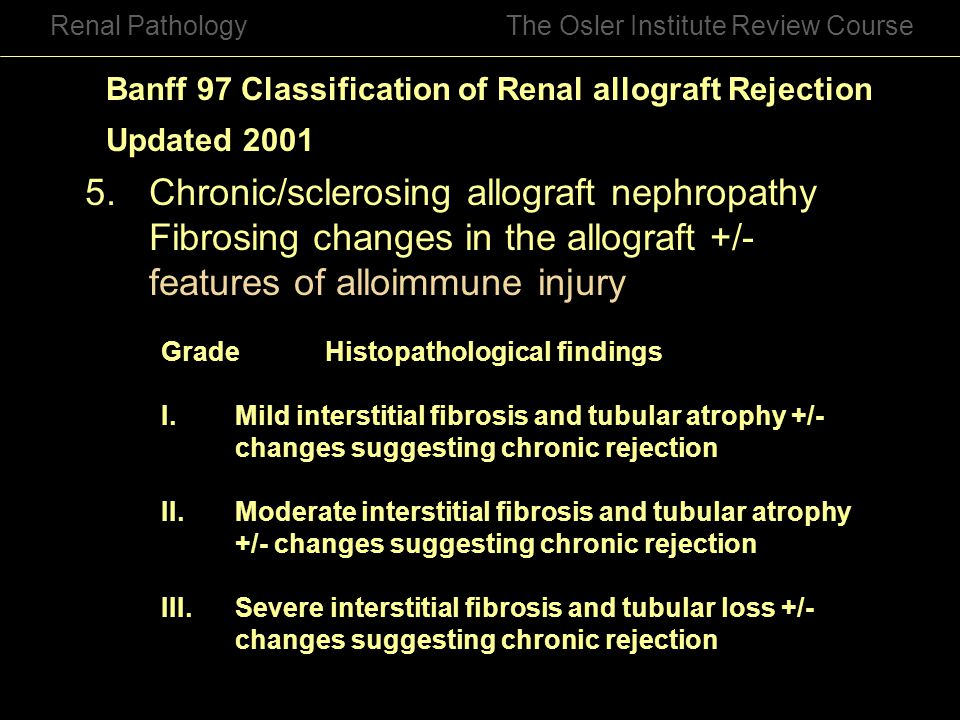 5. Chronic/sclerosing allograft nephropathy