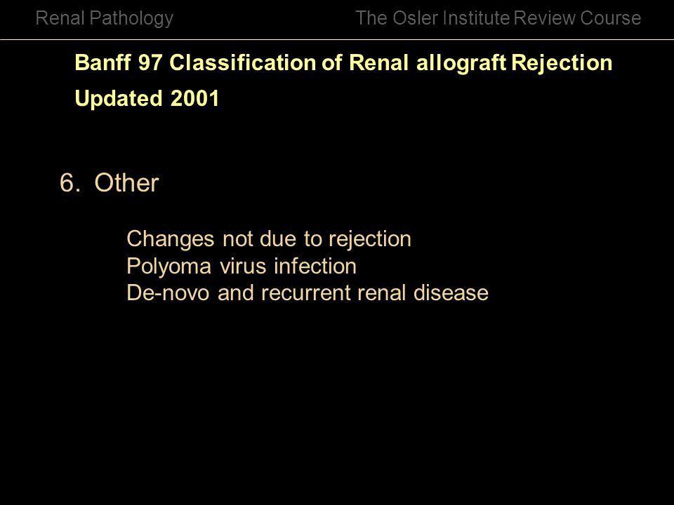 Other Banff 97 Classification of Renal allograft Rejection