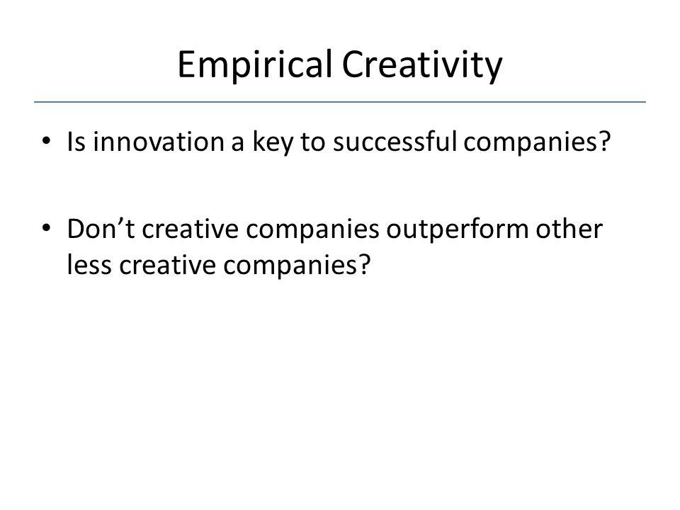 Empirical Creativity Is innovation a key to successful companies
