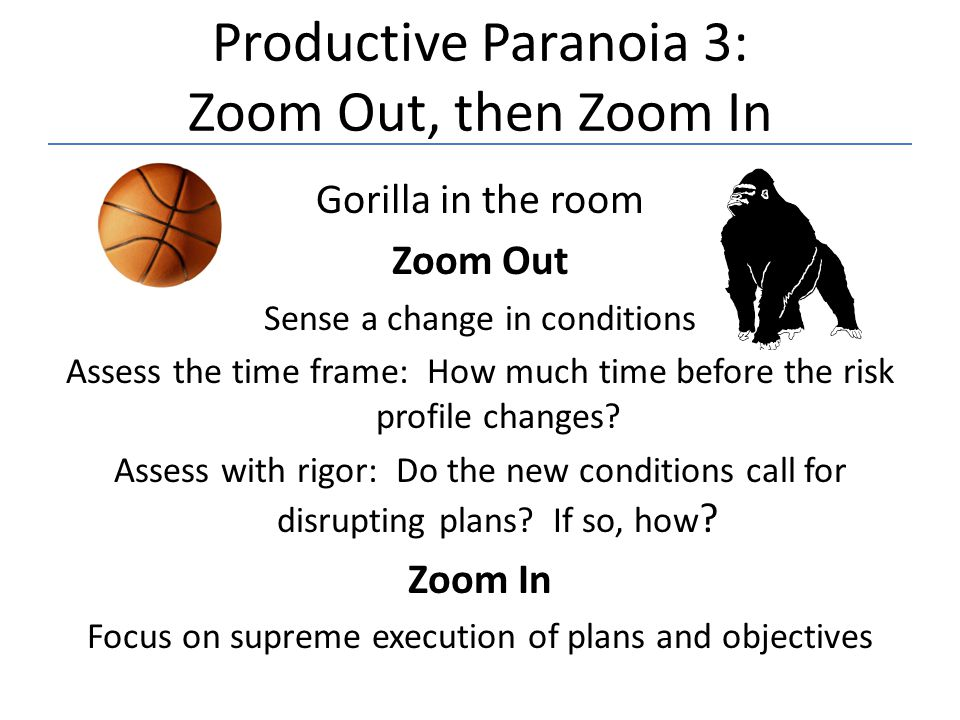 Productive Paranoia 3: Zoom Out, then Zoom In