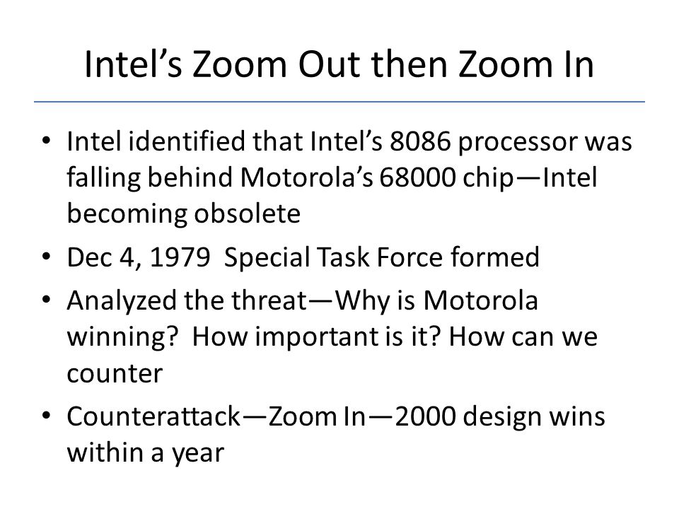 Intel's Zoom Out then Zoom In