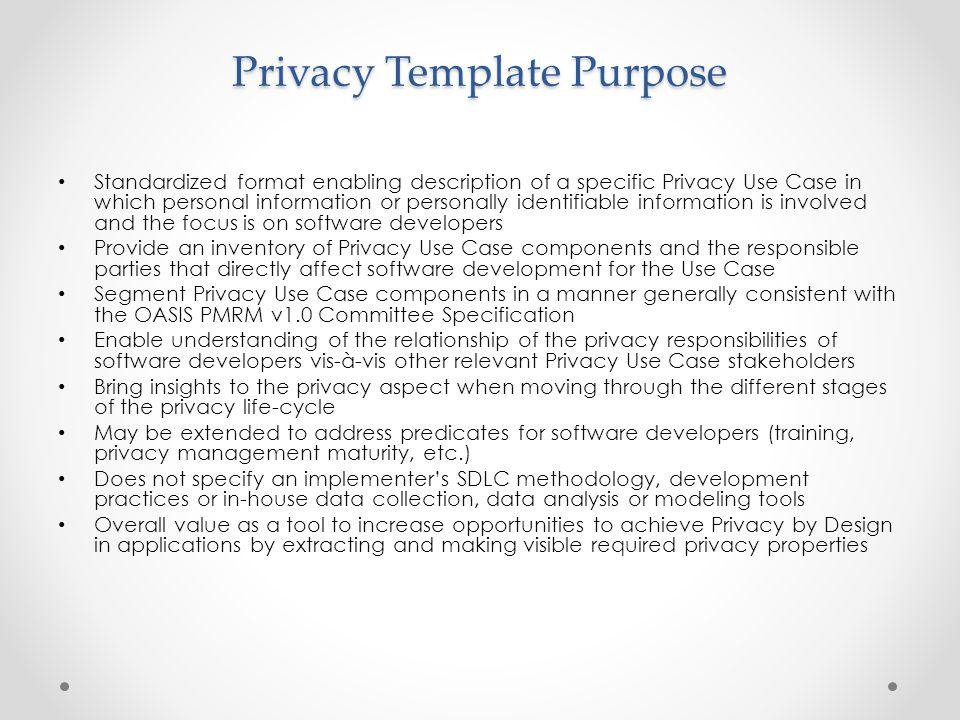 Privacy Template Purpose