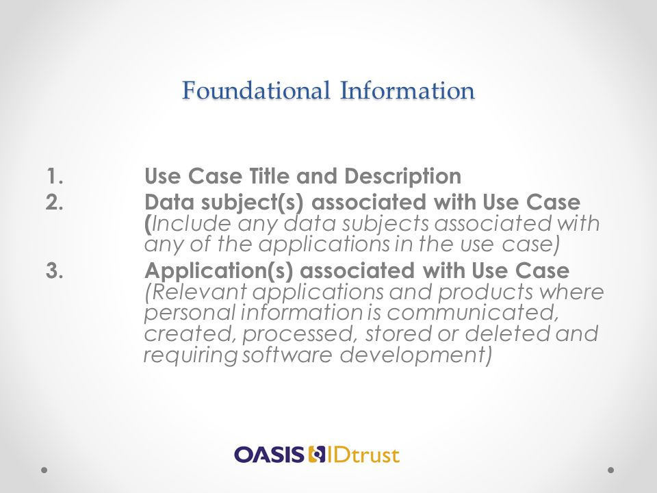 Foundational Information
