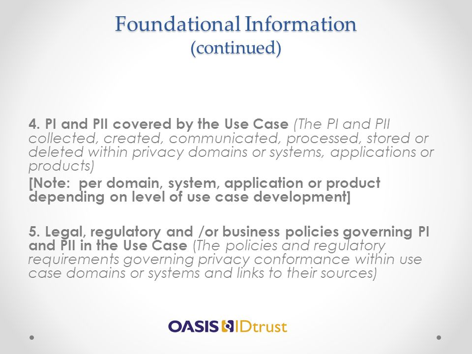 Foundational Information (continued)