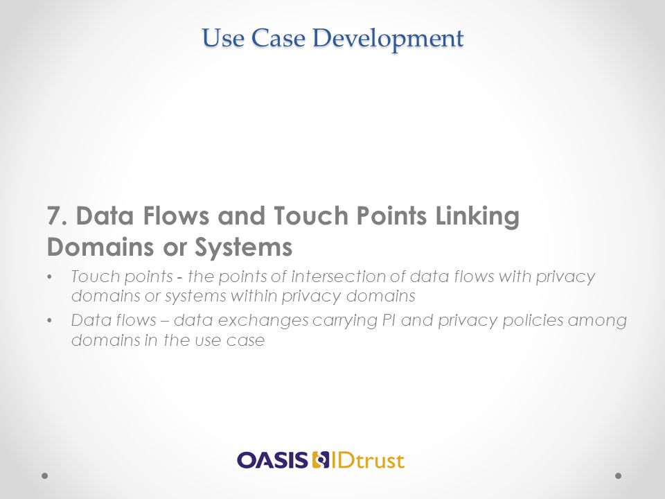 7. Data Flows and Touch Points Linking Domains or Systems
