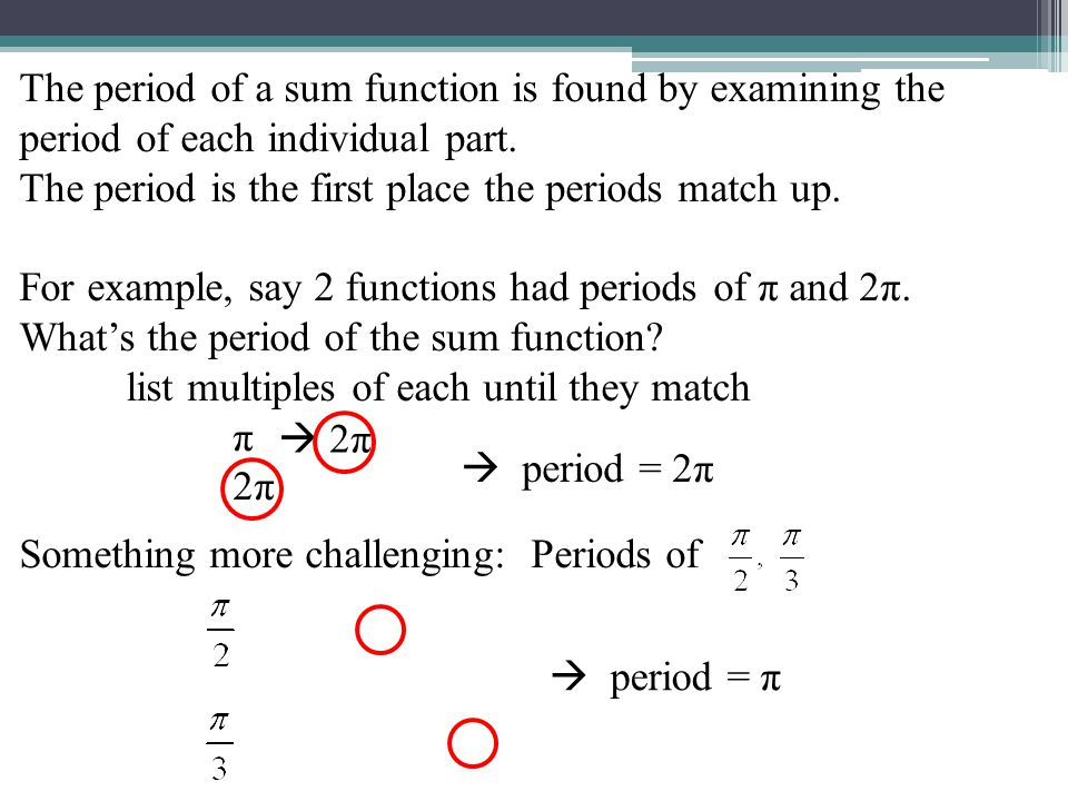 The period of a sum function is found by examining the period of each individual part.