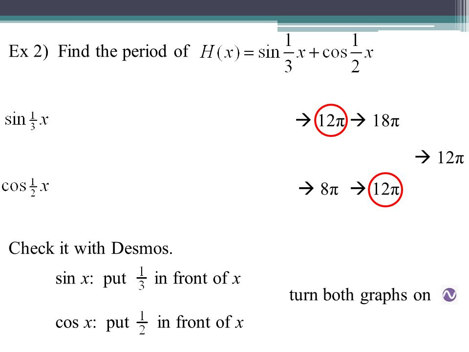 Ex 2) Find the period of Check it with Desmos. sin x: put in front of x. cos x: put in front of x.