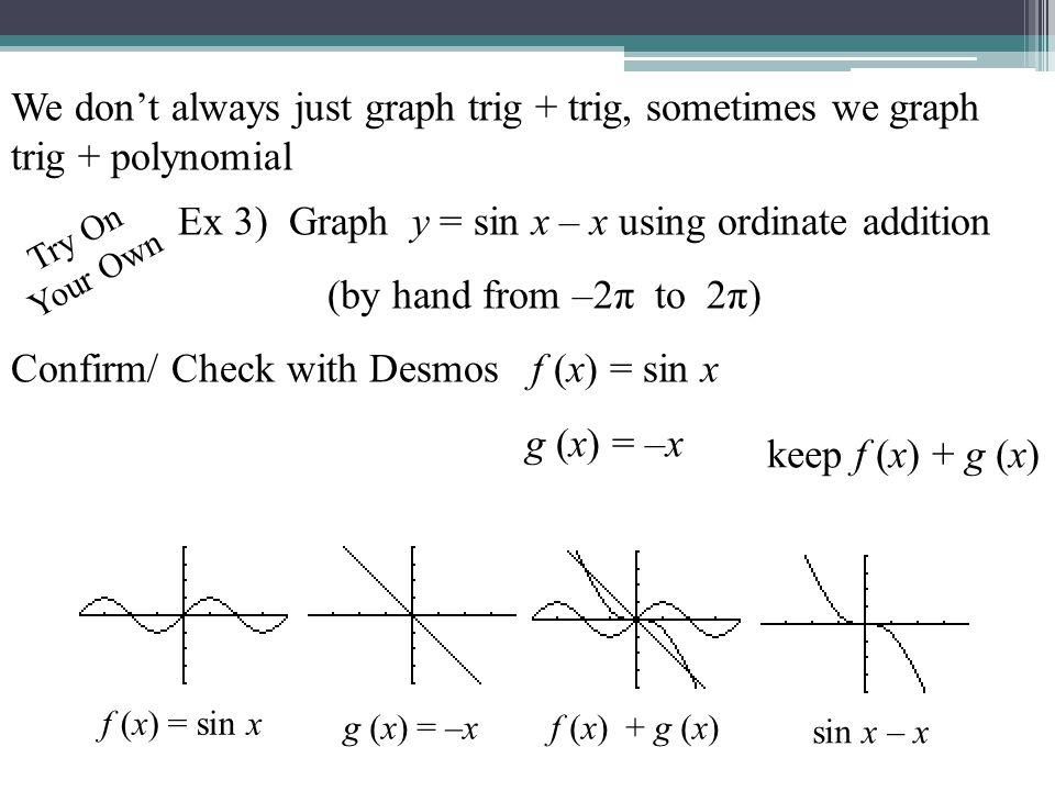 Ex 3) Graph y = sin x – x using ordinate addition
