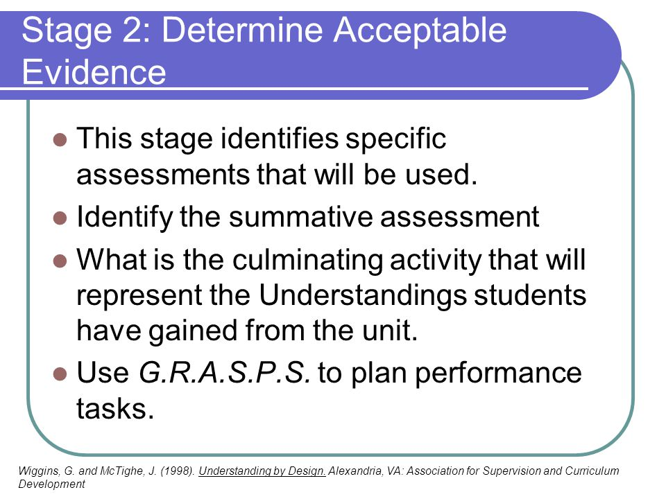 Stage 2: Determine Acceptable Evidence