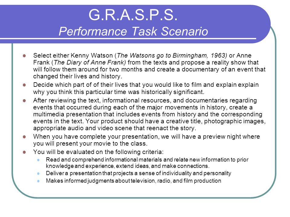 G.R.A.S.P.S. Performance Task Scenario