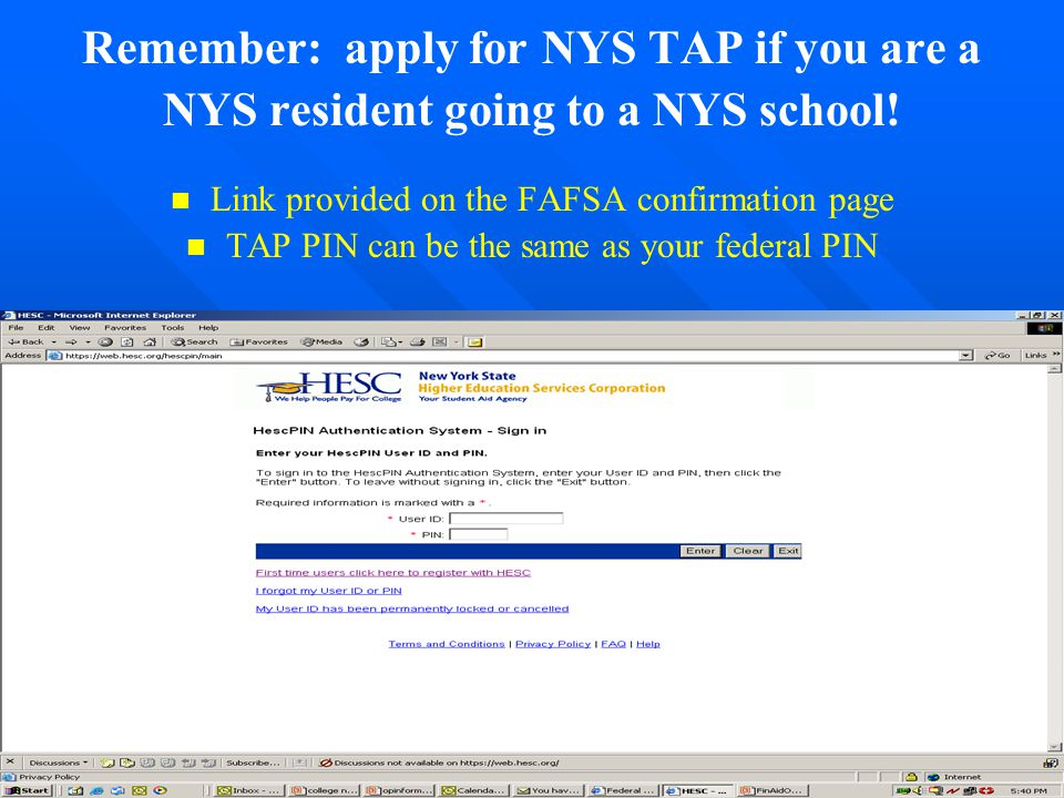 Remember: apply for NYS TAP if you are a