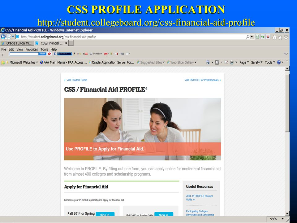 CSS PROFILE APPLICATION http://student. collegeboard