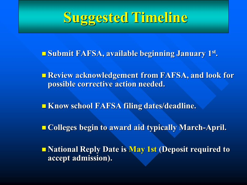 Suggested Timeline Submit FAFSA, available beginning January 1st.