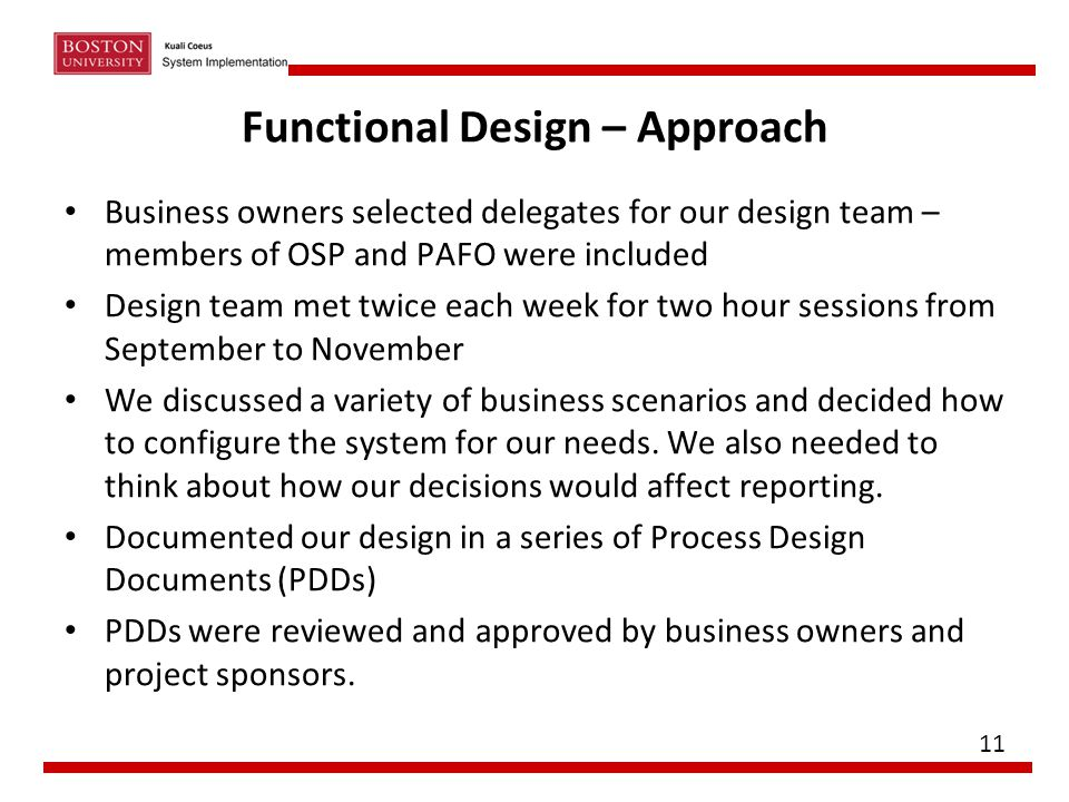 Functional Design – Approach