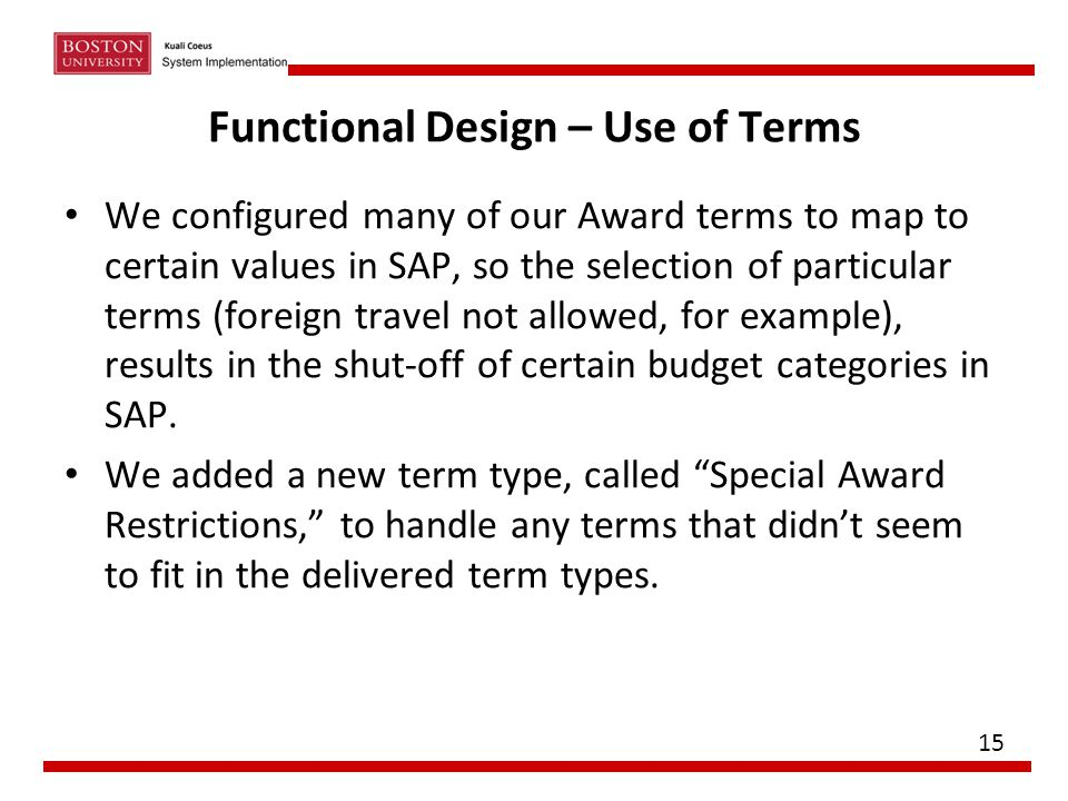 Functional Design – Use of Terms