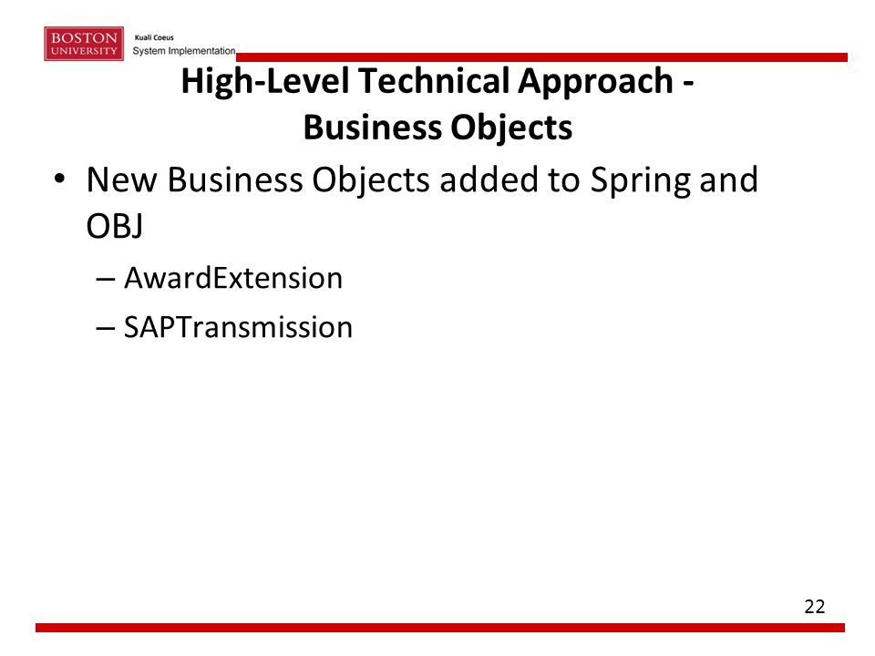 High-Level Technical Approach - Business Objects