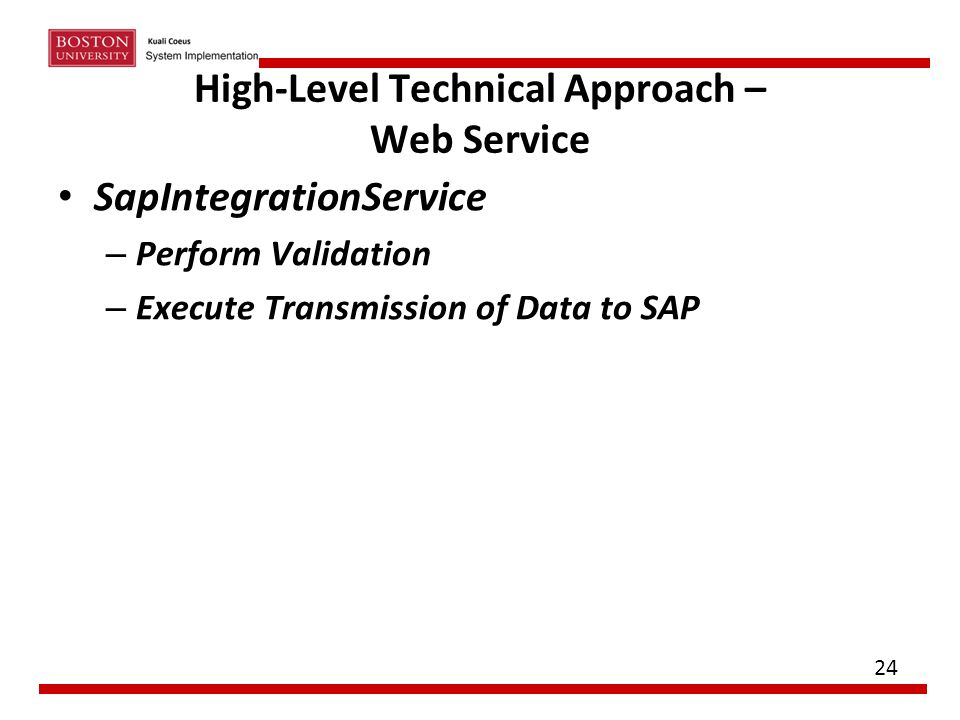 High-Level Technical Approach – Web Service