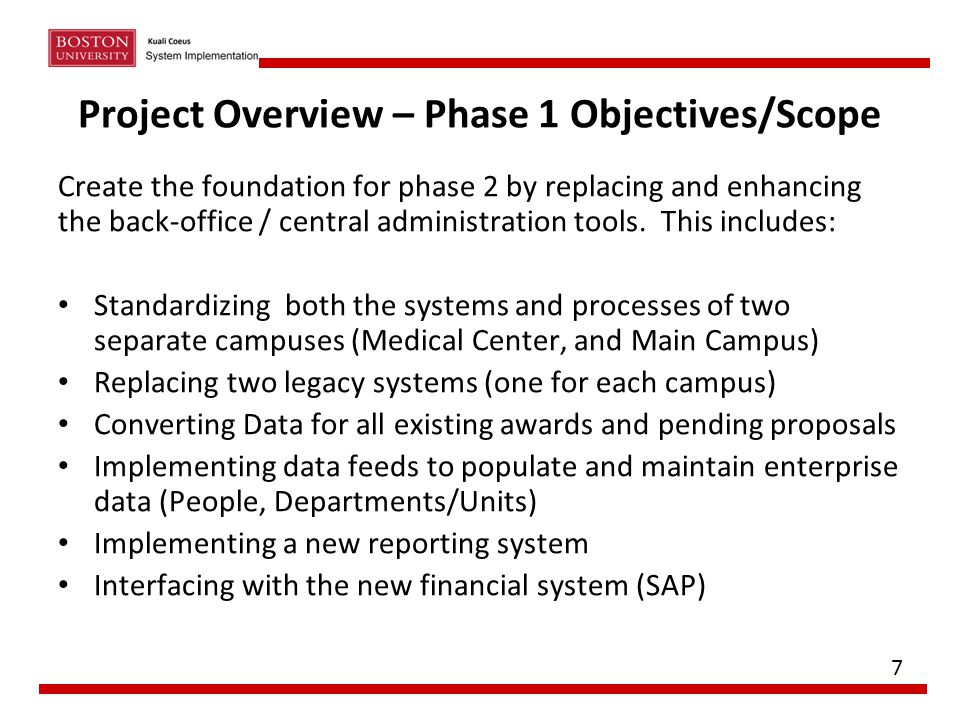 Project Overview – Phase 1 Objectives/Scope