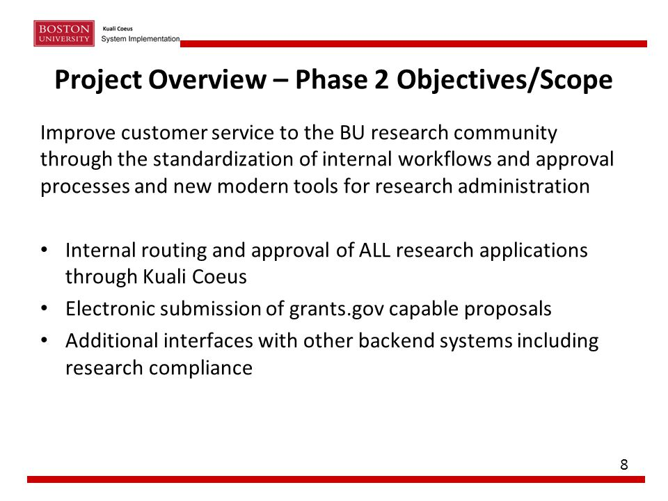 Project Overview – Phase 2 Objectives/Scope