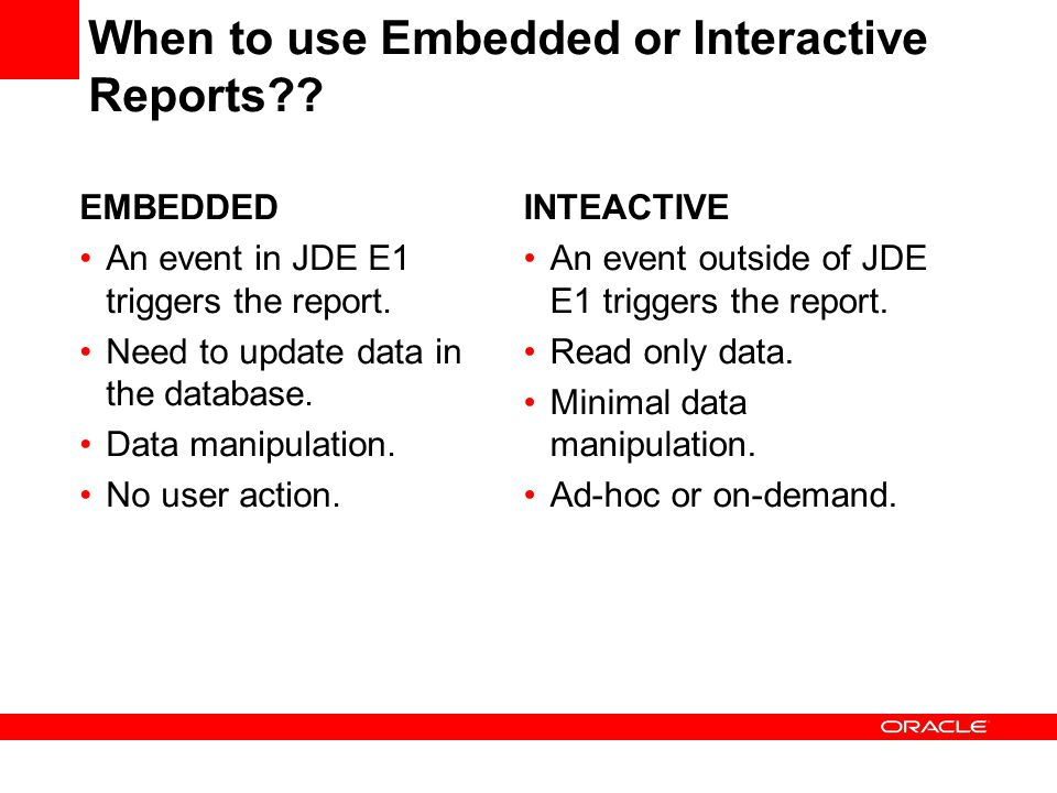 When to use Embedded or Interactive Reports