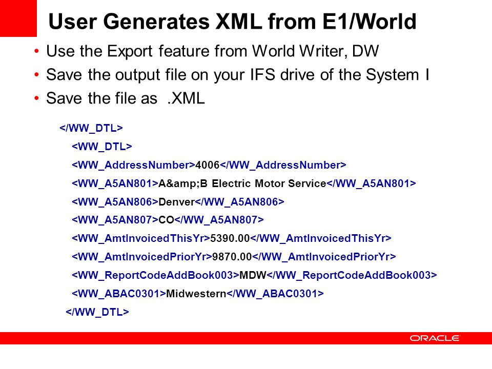 User Generates XML from E1/World