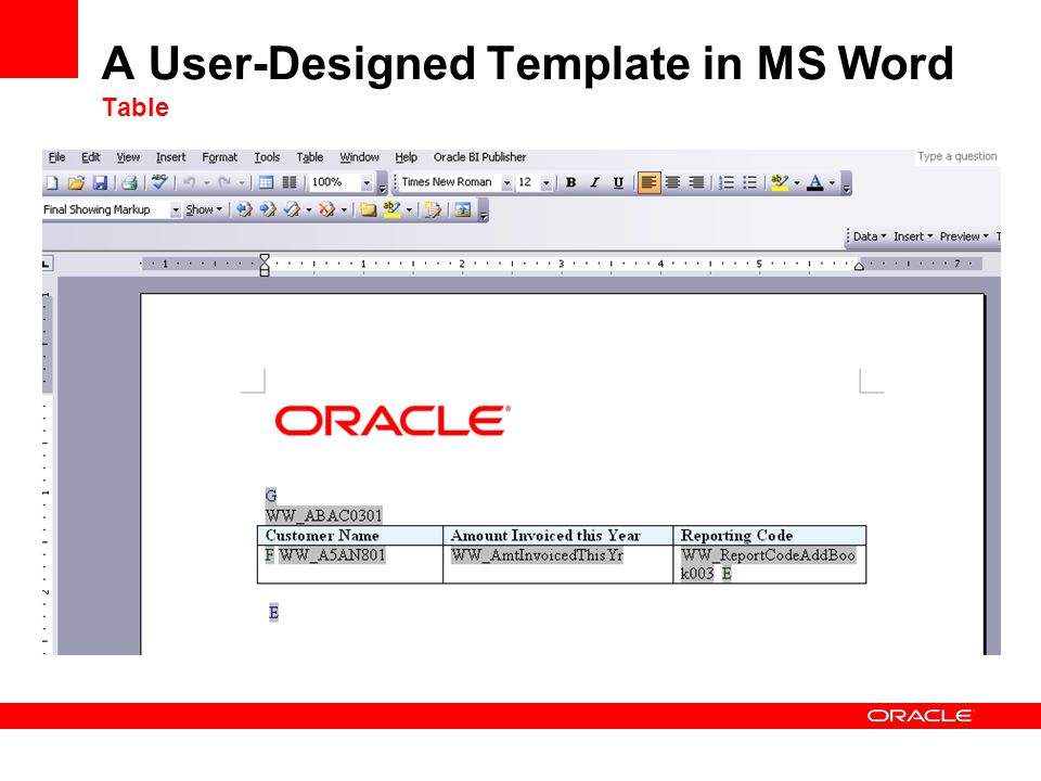 A User-Designed Template in MS Word Table