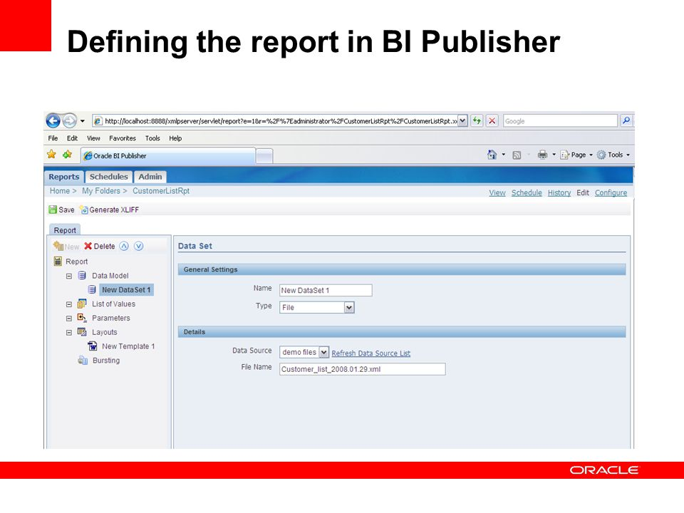 Defining the report in BI Publisher