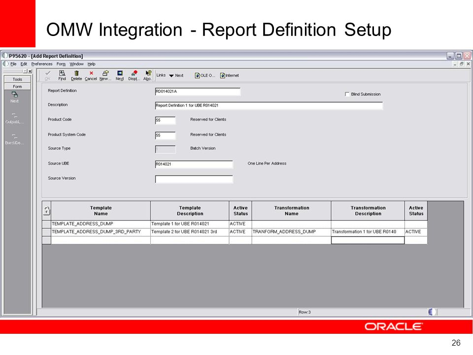 OMW Integration - Report Definition Setup
