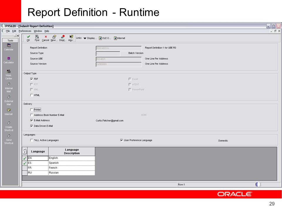 Report Definition - Runtime