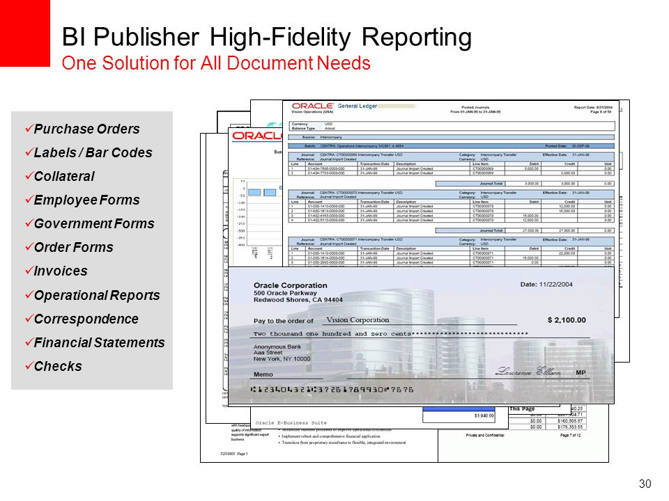 BI Publisher High-Fidelity Reporting One Solution for All Document Needs