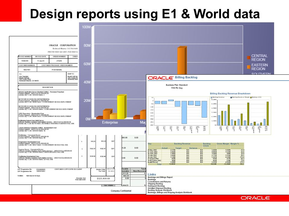 Design reports using E1 & World data