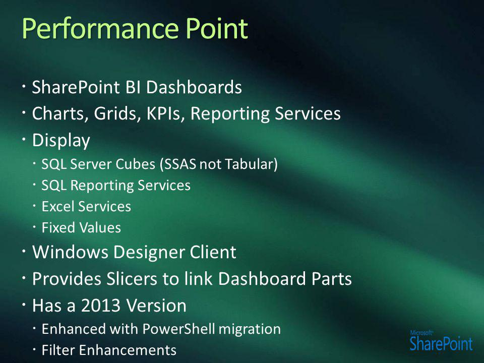 Performance Point SharePoint BI Dashboards