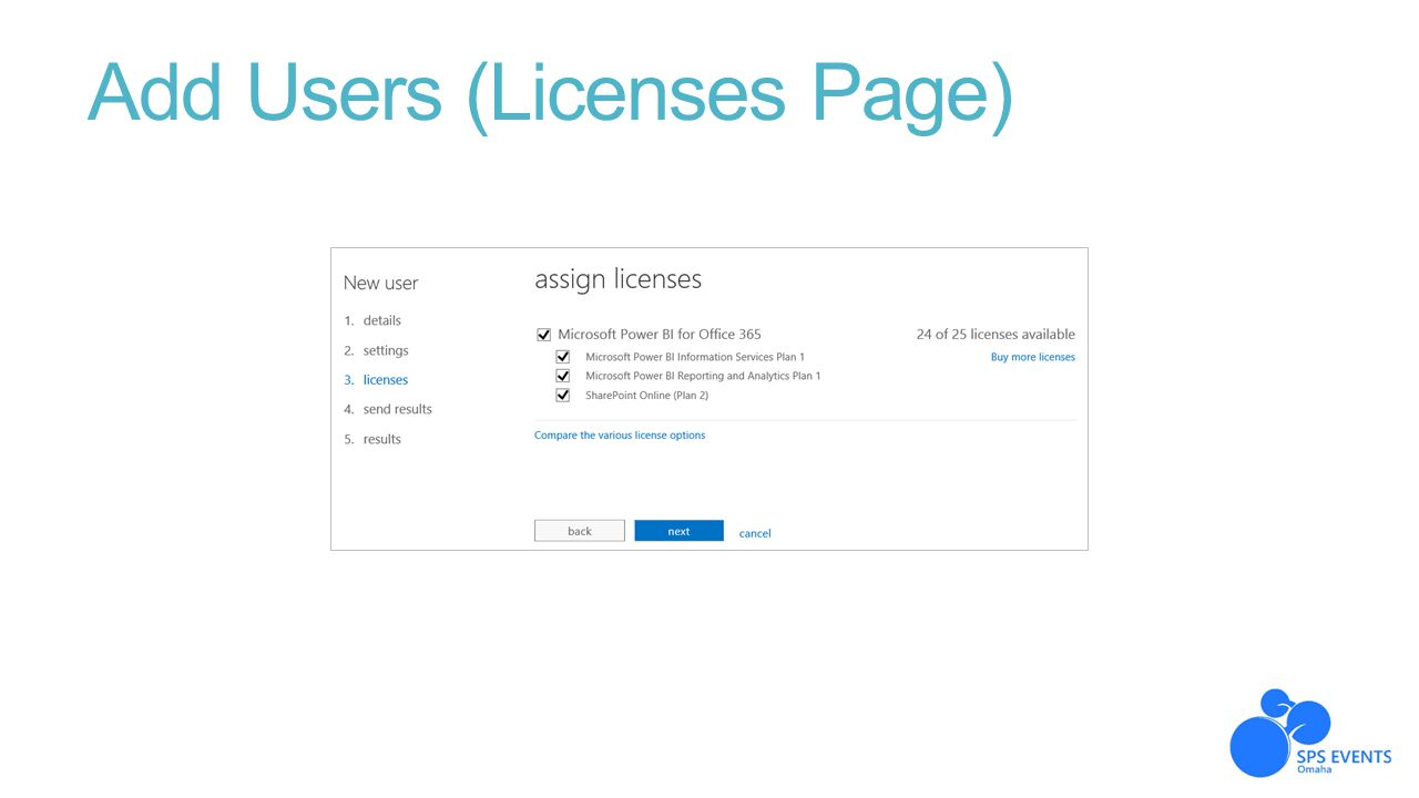 Add Users (Licenses Page)