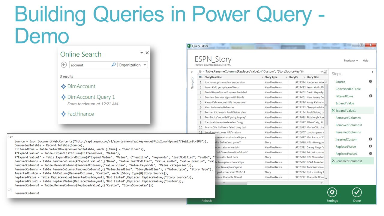Building Queries in Power Query - Demo