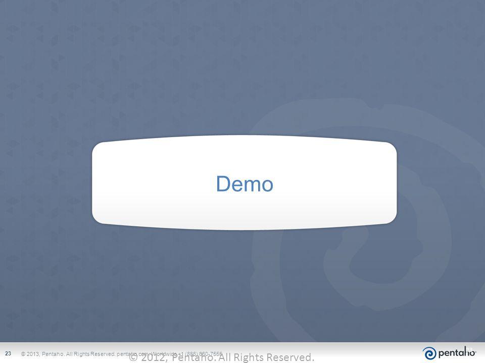 Demo © 2012, Pentaho. All Rights Reserved. pentaho.com. Worldwide +1 (866) 660-7555